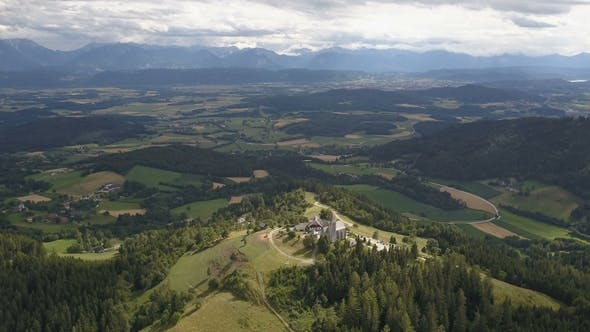 Thumbnail for AERIAL View of Magdalensberg, Carinthia, Austria. Mountains As a Background