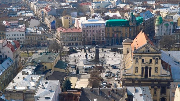 Thumbnail for Aerial View Over the Streets of Lviv