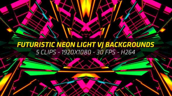 Thumbnail for Futuristic Neon Light VJ Backgrounds