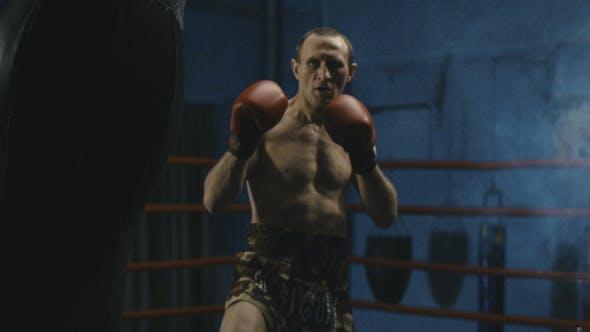Thumbnail for Shirtless Boxer Punching Bag in Gym