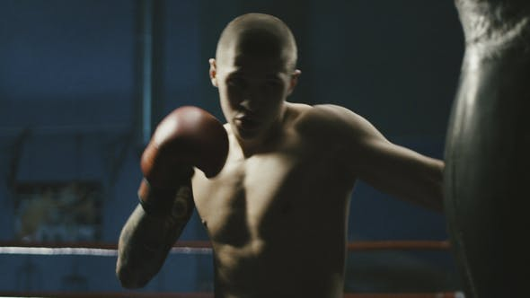 Cover Image for Man Training with Punching Bag in Gym