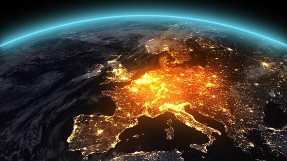 4K Earth Night Europe