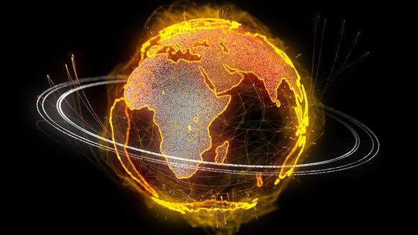 Thumbnail for 4K Cyber Earth Rotating Seamless Loop