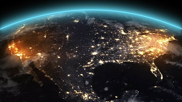 4K Earth Night North America