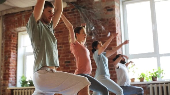 Thumbnail for Group of People Making Yoga Exercises in Gym 11