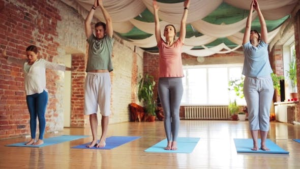 Thumbnail for Group of People Making Yoga Exercises in Gym 40