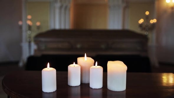 Thumbnail for Burning Candles and Coffin in Church at Funeral 2