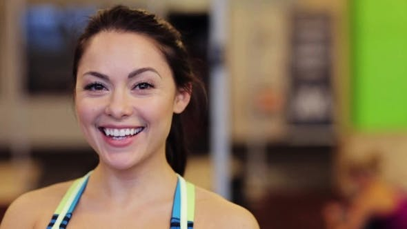 Thumbnail for Portrait of Happy Smiling Young Woman at Gym 17