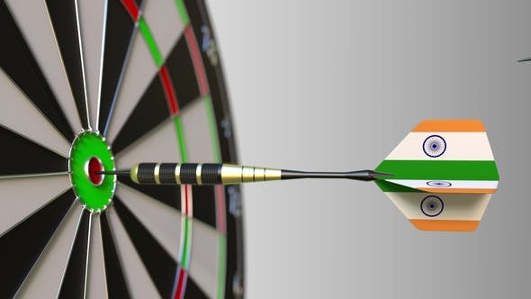 Thumbnail for Flags of the United Kingdom and India on Darts Hitting Bullseye of the Target