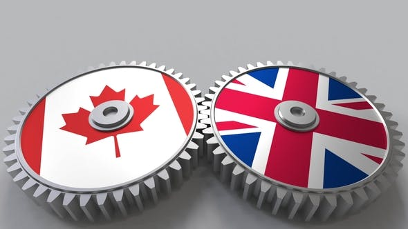 Thumbnail for Flags of Canada and The United Kingdom on Meshing Gears