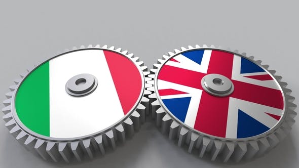 Flags of Italy and The United Kingdom on Meshing Gears