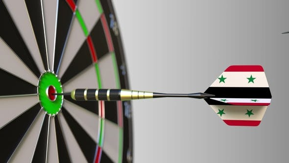 Thumbnail for Flags of the United Kingdom and Syria on Darts Hitting Bullseye of the Target