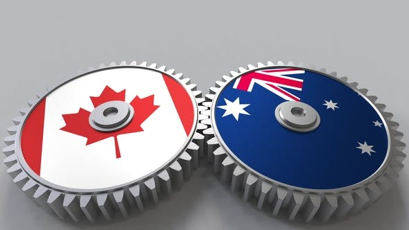 Thumbnail for Flags of Canada and Australia on Meshing Gears