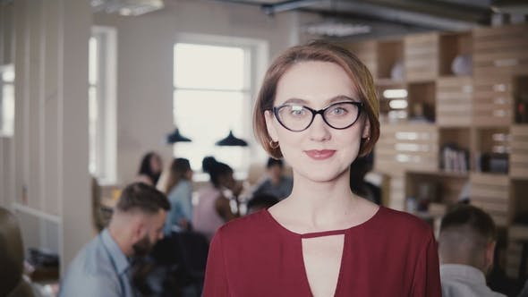 Thumbnail for Happy Confident European Young Businesswoman Smiling at Camera. Confident Female Boss Posing in