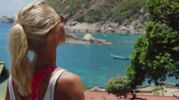 Tanned Sporty Female Enjoy Gorgeous View of Tanote Bay on Sunny Day. Light Ocean Breeze Ocean Breeze