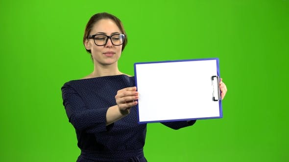Thumbnail for Accountant Raises a Paper Tablet and Smiles
