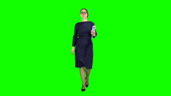 Thumbnail for Designer Girl Comes with a Drawing in Her Hands Green Screen