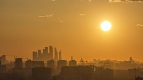 Moscow City Business Center and Cityscape at Sunset. Russia