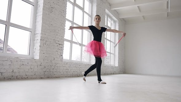 Thumbnail for Cute Blonde Hair Girl Doing Exercive with Mace in the Hand in the Studio on White Background Near