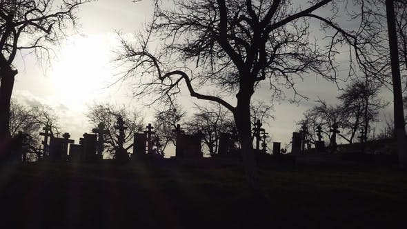 Thumbnail for Old Graveyard with Ancient Crosses at Sunset