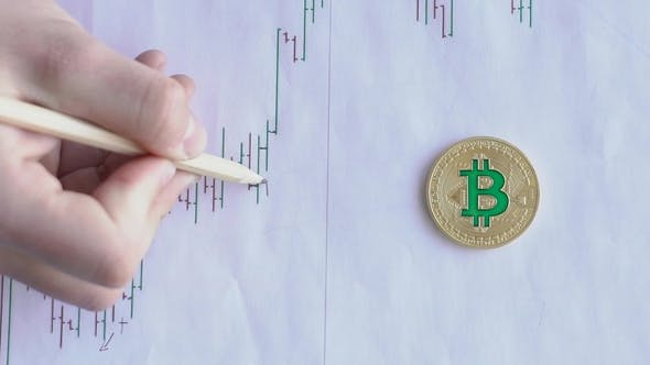 Thumbnail for Hand with Help of Pencil Makes Marks on Chart on Sheet with Gold Bitcoin.