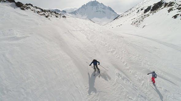 Thumbnail for Freeride Skier On Piste Running Downhill
