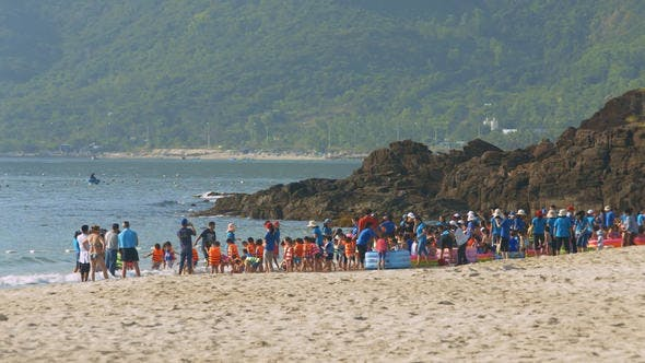 Thumbnail for Children Play on Beach under Educators Supervision