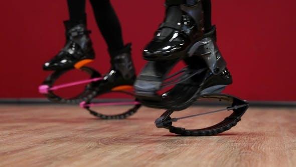 Thumbnail for Sporty Girls Training in Kangoo Jumps