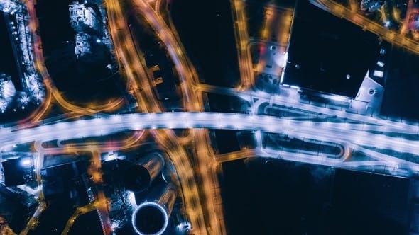 Night Riga Bridge Viaduct Road Traffic Machine