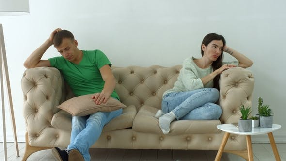Thumbnail for Couple Not Talking After a Dispute on the Sofa