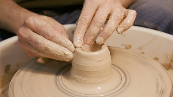 Thumbnail for Man Works with a Potter's Wheel, Only Hands