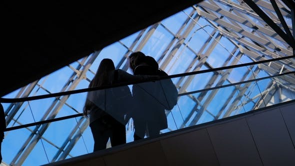 Thumbnail for The Glass Window Airport Ecsalator with Moving Silhouette of People
