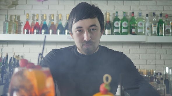 Cover Image for Portrait of Beautiful Male beside Vivid Alcohol Drinks with Berries at Counter in Bar Interior