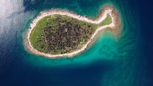 Thumbnail for Flight over Fish Shaped Island Gaz in Brijuni Islands, Croatia
