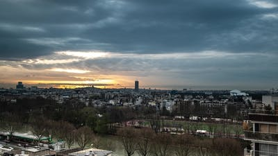 Sequence of Paris, France - Rooftops in Paris with the Sacre-Coeurr