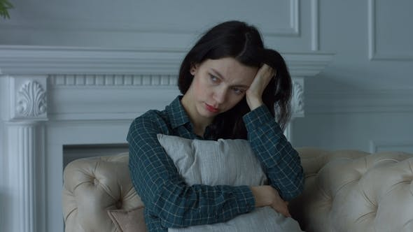 Thumbnail for Depressed Lonely Young Woman in Domestic Room