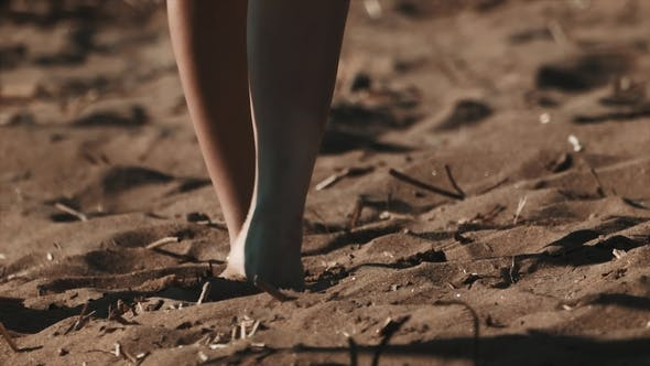 Thumbnail for Young Sexy Woman in Pareo Bare Feet Stomping on Beach Sand