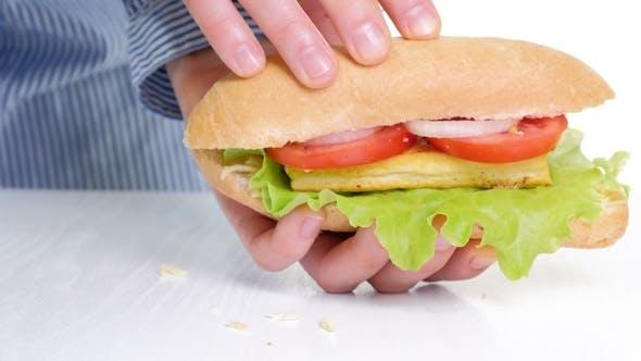 of Vegetarian Hamburger Against White Background