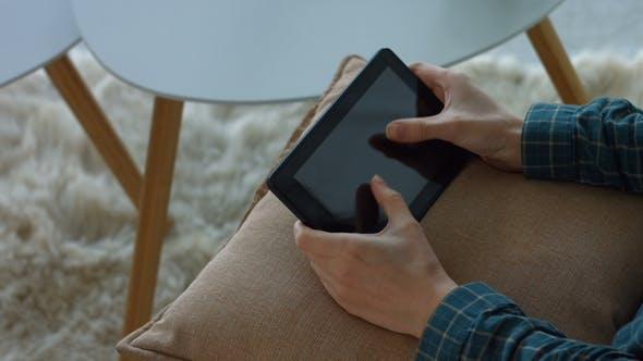 Thumbnail for Female Touching Blank Screen of Tablet with Hands