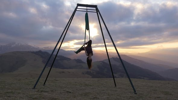 Thumbnail for Anti-gravity Yoga or Aerial Yoga in Nature