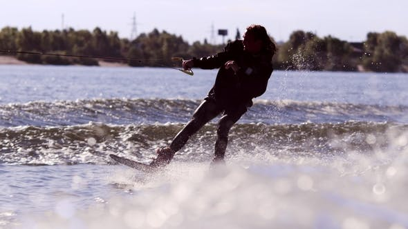 Thumbnail for Wake Boarding Rider Enjoy Training. Surfer Making Trick on Wakeboard