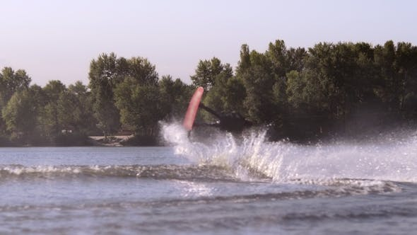 Wakeboarder Making Stunt on Water