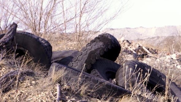 A Pile of Old Rotten Rubber Tires
