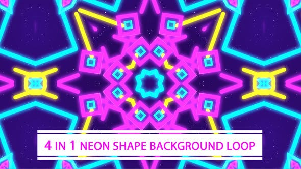 Thumbnail for 4 in 1 Neon Shapes Background Loop