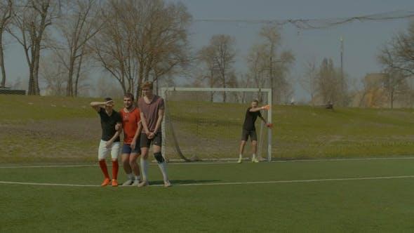 Soccer Player Taking Direct Free Kick During Game