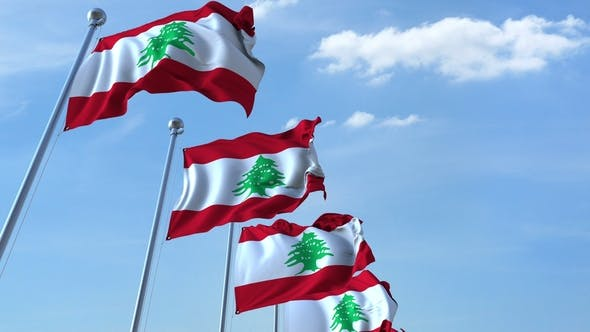 Thumbnail for Waving Flags of Lebanon Against the Sky