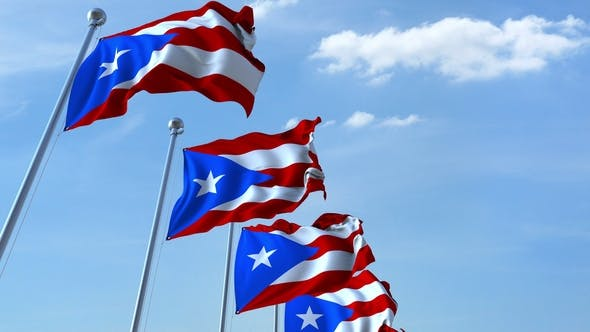 Thumbnail for Waving Flags of Puerto Rico Against the Sky