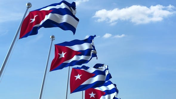 Thumbnail for Waving Flags of Cuba Against the Sky