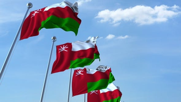 Thumbnail for Waving Flags of Oman Against the Sky