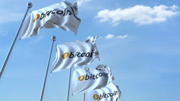 Thumbnail for Waving Flags with Bitcoin Logo Against the Sky